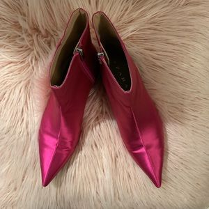 STUNNINGZARA PINK SATEEN POINTED ANKLE BOOTS